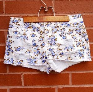 Forever 21- Floral Print Denim Shorts
